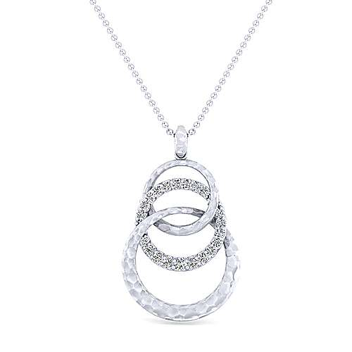 925 Sterling Silver Hammered Layered Circle White Sapphire Pendant Necklace