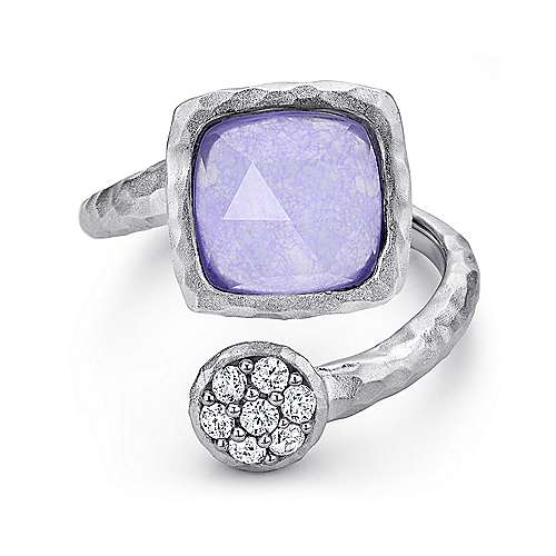 Gabriel - 925 Sterling Silver Hammered Multi Color Stones Fashion Ring