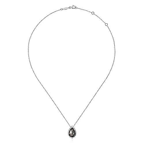 925 Sterling Silver Hammered Pear Shaped Rock Crystal / Black Mother of Pearl Pendant Necklace