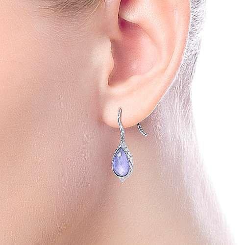 925 Sterling Silver Hammered Pear Shaped Rock Crystal/Purple Jade Drop Earrings