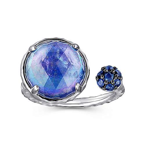 925 Sterling Silver Hammered Rock Crystal/MOP/Lapis with Sapphire Open Ring