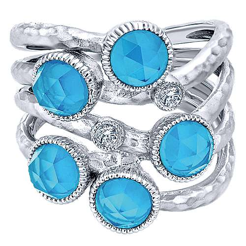 925 Sterling Silver Hammered Rock Crystal/Turquoise and White Sapphire Ring