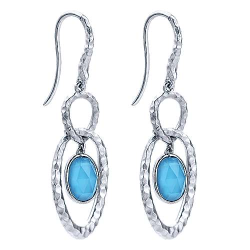 925 Sterling Silver Hammered Rock Crystal and Turquoise Drop Earrings