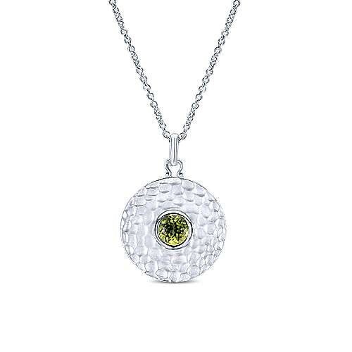 925 Sterling Silver Hammered Round Peridot Fashion Necklace