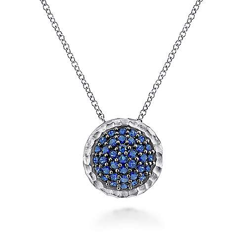 925 Sterling Silver Hammered Round Sapphire Pendant Necklace