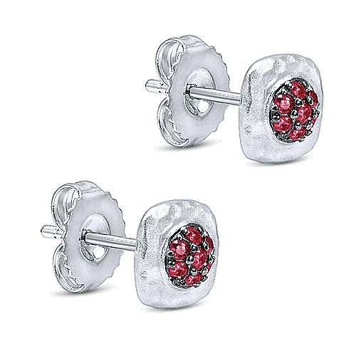 925 Sterling Silver Hammered Ruby Cluster Stud Earrings