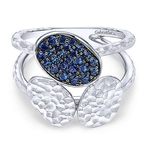 925 Sterling Silver Hammered Sapphire Open Ring