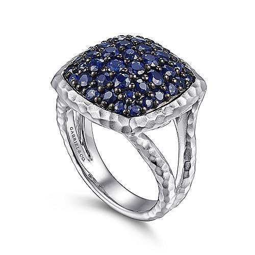 925 Sterling Silver Hammered Sapphire Pavé Ring