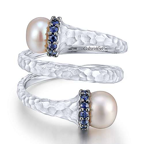 925 Sterling Silver Hammered Sapphire and Pearl Wrap Ring