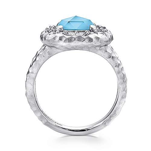 925 Sterling Silver Hammered Split Shank Turquoise/Rock Crystal Ring