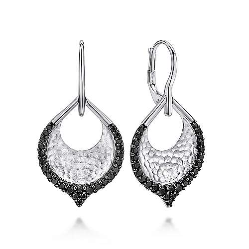 925 Sterling Silver Hammered Teardrop Leverback Earrings with Black Spinel