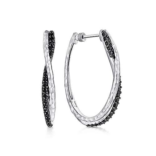 925 Sterling Silver Hammered Twisted 35mm Black Spinel Hoop Earrings