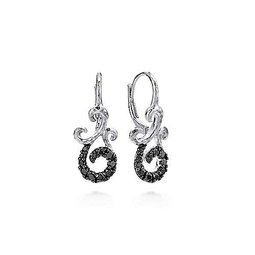 925 Sterling Silver Hammered Twisted Black Spinel Drop Earrings