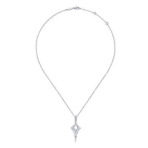 925 Sterling Silver Hammered Twisted Spiked White Sapphire Pendant Necklace