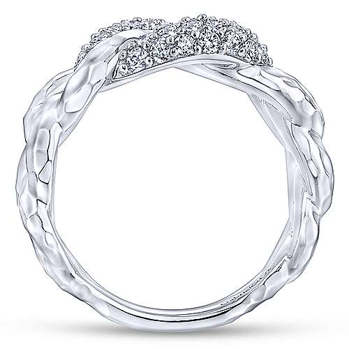 925 Sterling Silver Hammered White Sapphire Chain Link Ring