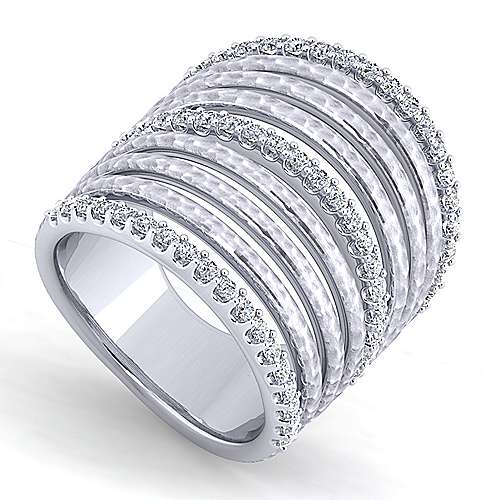925 Sterling Silver Hammered White Sapphire Layered Wide Band Ring