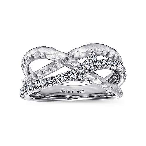 925 Sterling Silver Hammered White Sapphire Twisted Ring