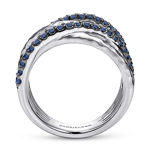 925 Sterling Silver Hammered Wide Band Layered Sapphire Ring