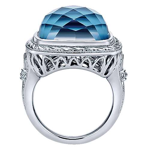 925 Sterling Silver Hand Carved Cushion Rock Crystal and Turquoise Ring