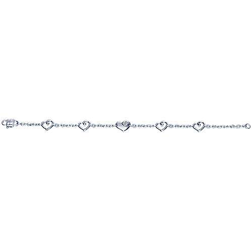 925 Sterling Silver Heart Chain Bracelet with White Sapphire Accent