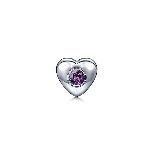 925 Sterling Silver Heart Pendant with Amethyst Stone