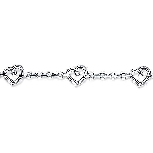 925 Sterling Silver Heart Station Chain Bracelet