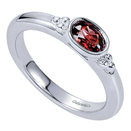 925 Sterling Silver Horizontal Bezel Set Oval Garnet Ring