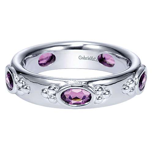 925 Sterling Silver Horizontal Set Oval Amethyst Band