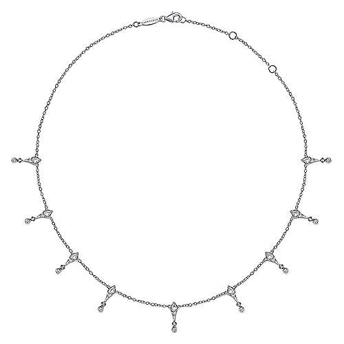 925 Sterling Silver Kite and White Sapphire Station Necklace