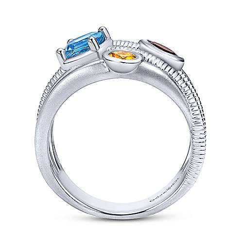 925 Sterling Silver Layered Blue Topaz, Garnet and Citrine Ring