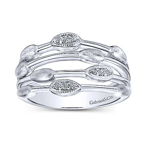 925 Sterling Silver Layered Diamond Fashion Ring