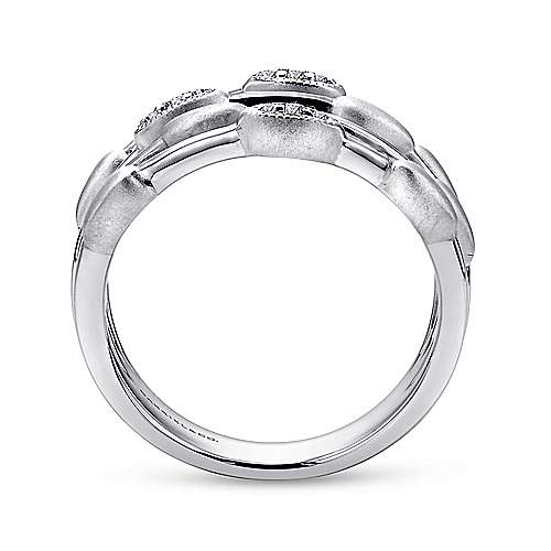 925 Sterling Silver Layered Diamond Station Ring