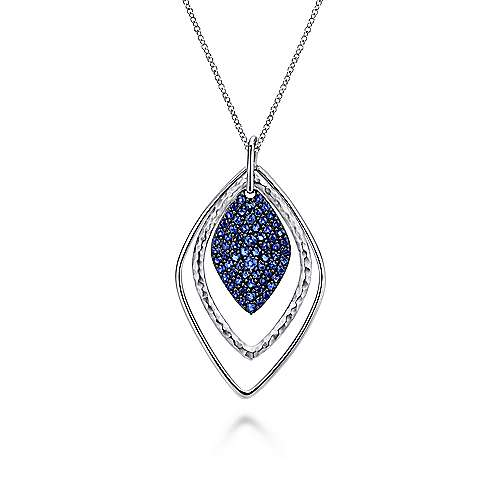925 Sterling Silver Layered Rhombus Pendant Necklace with Sapphire Pavé Drop
