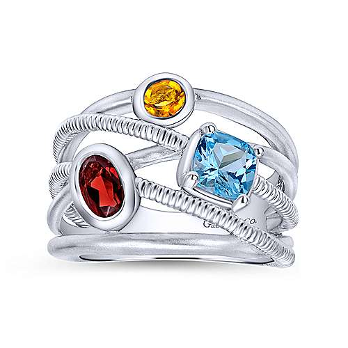 925 Sterling Silver Layered Ribbed Multi Color Stones Wide Band Ring