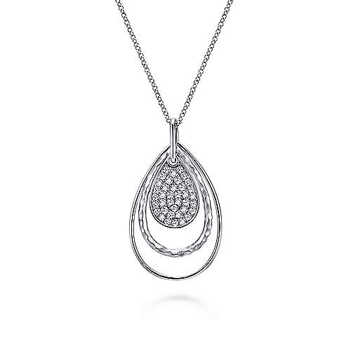925 Sterling Silver Layered Teardrop Pendant Necklace with White Sapphire