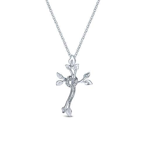 925 Sterling Silver Leaf & Diamond Wreath Cross Necklace