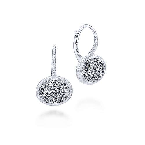 925 Sterling Silver Leverback Earrings With White Sapphire Pavé