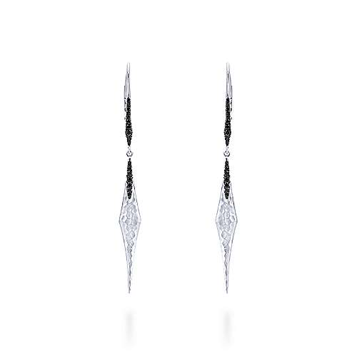 925 Sterling Silver Linear Hammered Drop Earrings with Black Spinel