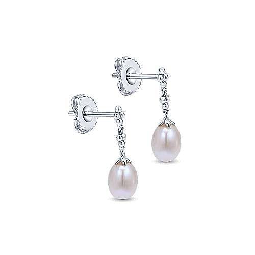 925 Sterling Silver Linear Pearl Earrings