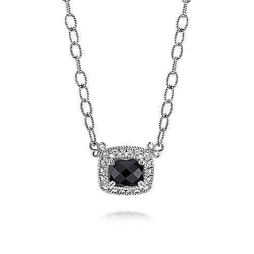 925 Sterling Silver Long Cushion Cut Rock Crystal/Black Onyx Filligree Pendant