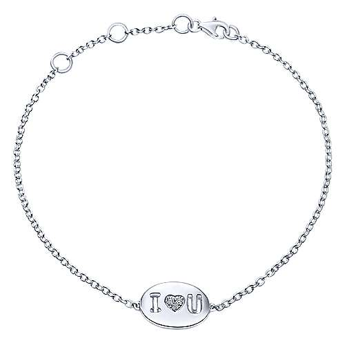 925 Sterling Silver Love Charm Pave Diamond Bracelet