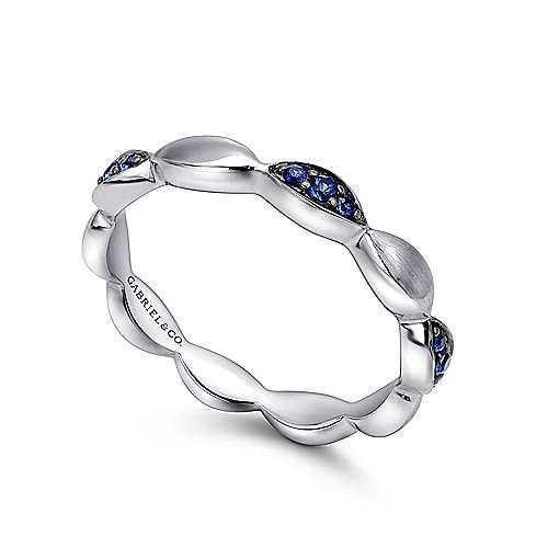 925 Sterling Silver Marquise Shape Station Ring with Sapphire Stones