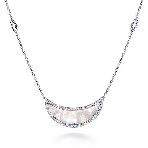 925 Sterling Silver Mother of Pearl Bib Necklace with White Sapphires