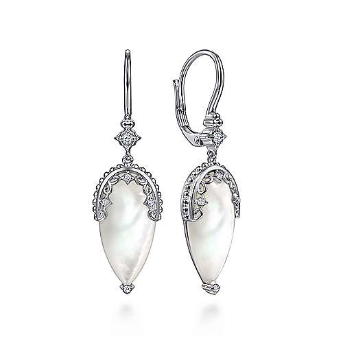 925 Sterling Silver Mother of Pearl Earrings with White Sapphire Accents