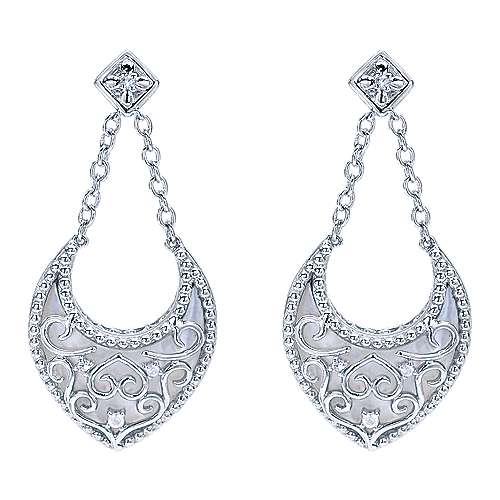 925 Sterling Silver Mother of Pearl and White Sapphire Pendulum Earrings