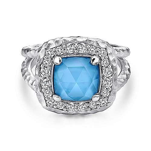 Gabriel - 925 Sterling Silver Multi Color Stones Ladies Fashion Ring