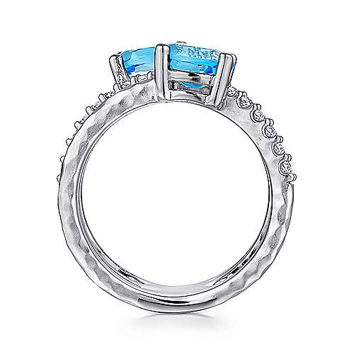 925 Sterling Silver Multi Color Stones Wide Band Ring