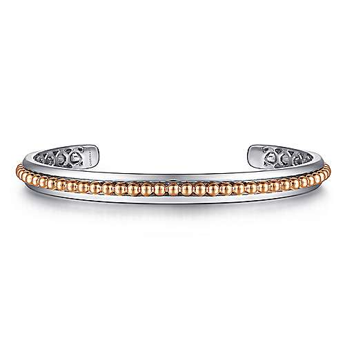 925 Sterling Silver Open Cuff Bracelet with 14K Rose Gold Beads