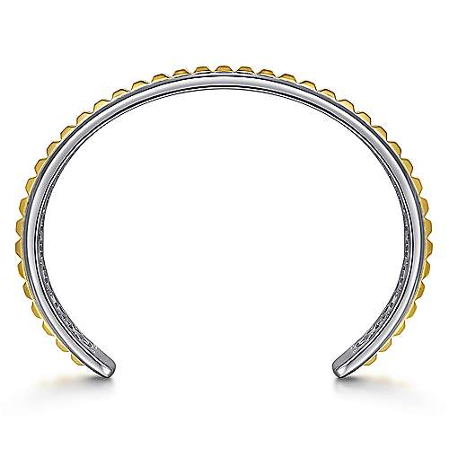 925 Sterling Silver Open Cuff Bracelet with 14K Yellow Gold Grommets