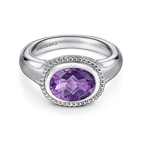 925 Sterling Silver Oval Amethyst Ladies Ring